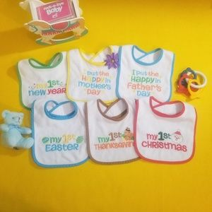 """Set of 6 """"My First"""" Holiday Bibs"""